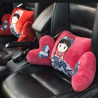 Bonito dos desenhos animados Apoio Lombar Carro Cintura Travesseiro PP Algodão Para Auto Suporte Para as Costas Almofada Do Assento Da Cadeira Do escritório Do Vintage Para As Mulheres meninas