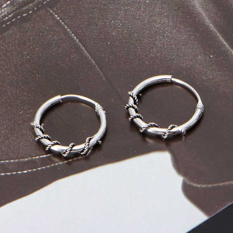 1 para prosty minimalistyczny Punk metalowa obręcz koło kolczyki Vintage okrągły Slivery biżuteria kolczyk
