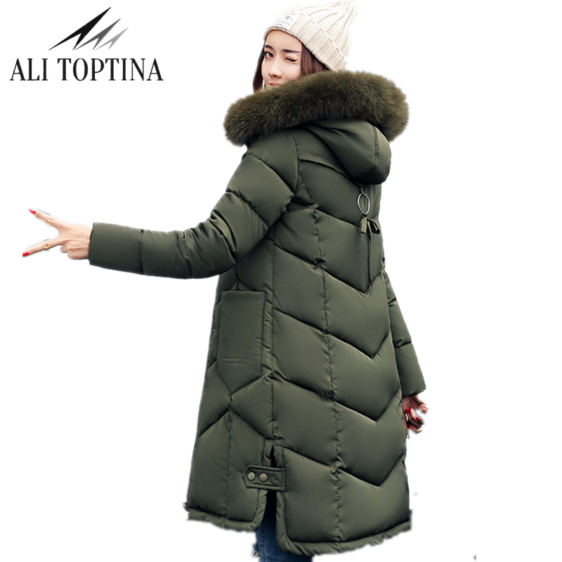 ALI TOPTINA Winter Coats Woman 2018 New Cotton-padded Clothes Woman Long Thickening Cotton   Parka   Fur Collar Plus Size MF20