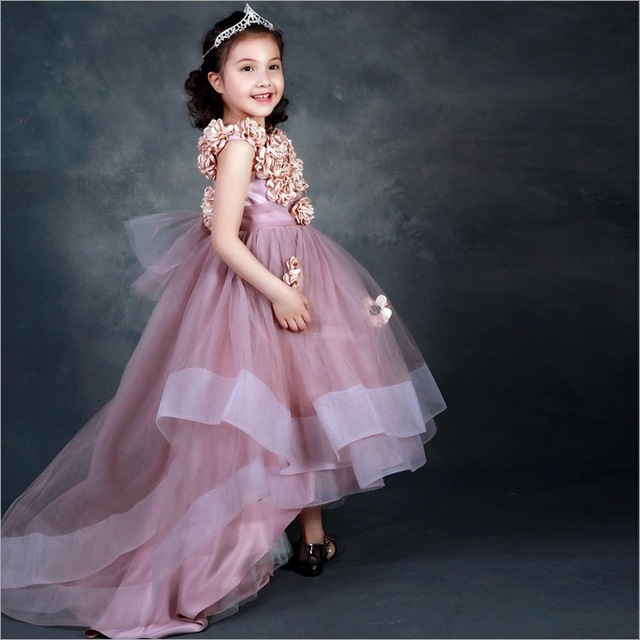 cbad1fe33475 high quality children clothes girls party dress kids gown evening 8 10  years old long flower dresses teen age cute