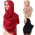 2016 190 * 90 см высокое качество мусульманской стиль кружева стиль тонкий раздел шелковые нити женщины шаль повязка на голову платок