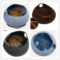 Free shipping Pet puppy Cat bed cave house pet furniture Hand felted eco friendly bed grey/brown/blue