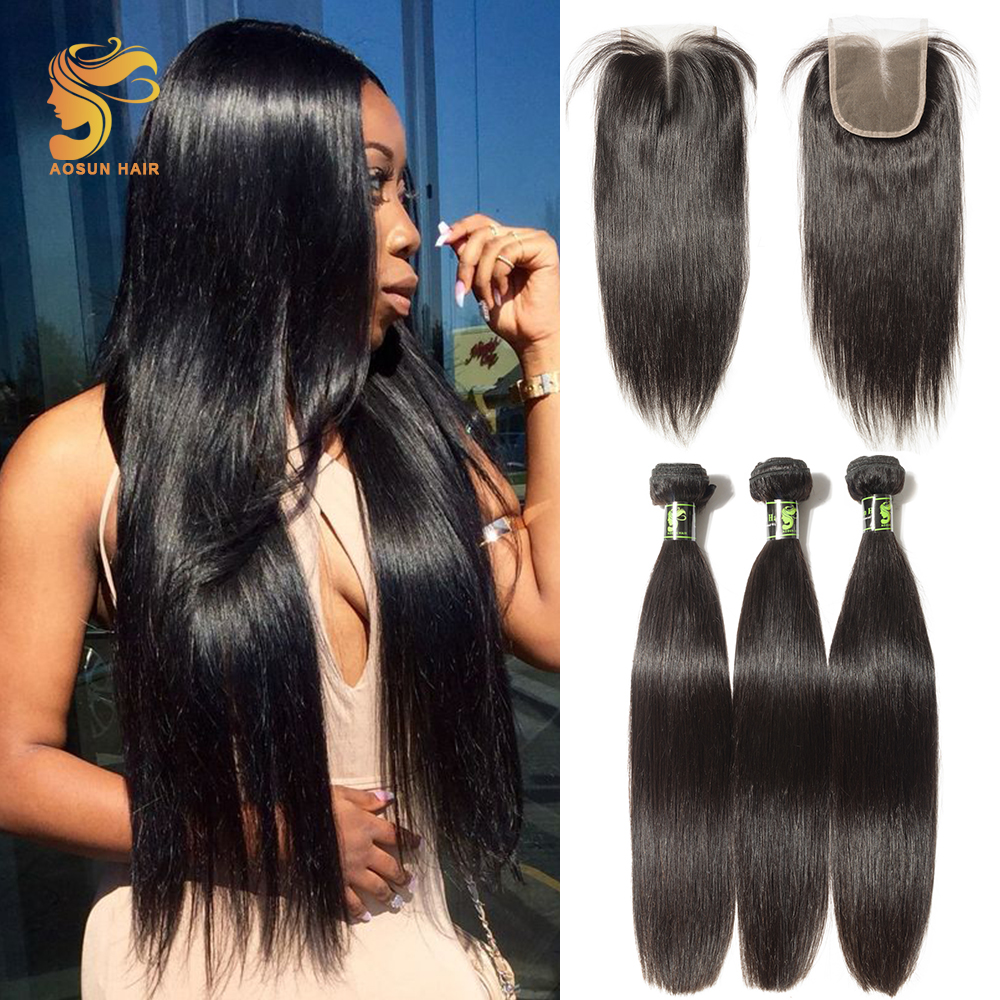 AOSUN Hair Brazilian Straight Hair Bundles With Closure 4PCS Human Hair Bundles With Closure 8 to 28 Inches Remy Hair Extensions