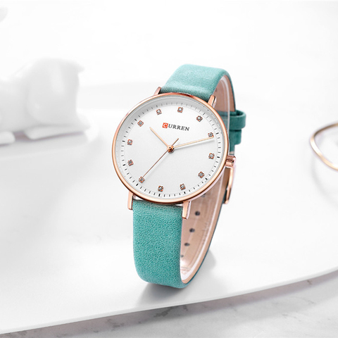 Top Brand CURREN New Fashion Leather Ladies Watches Analog Quartz Female Clock Luxury Women Rhinestone Watches Valentine Gifts Lahore