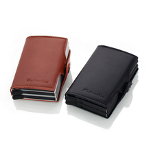 Genuine Leather Card Holder Automatic Credit Card Holder Men Aluminum Business Credit Card Multi-function purses& wallets a3 multi function automatic business card cutter