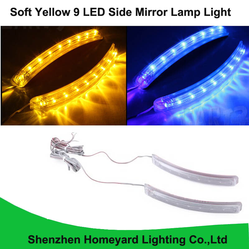 Homeyard 2pc Waterproof 12V Soft Yellow 9 LED Side Mirror Lamp Light Turn Signal Direction Blinker Kit