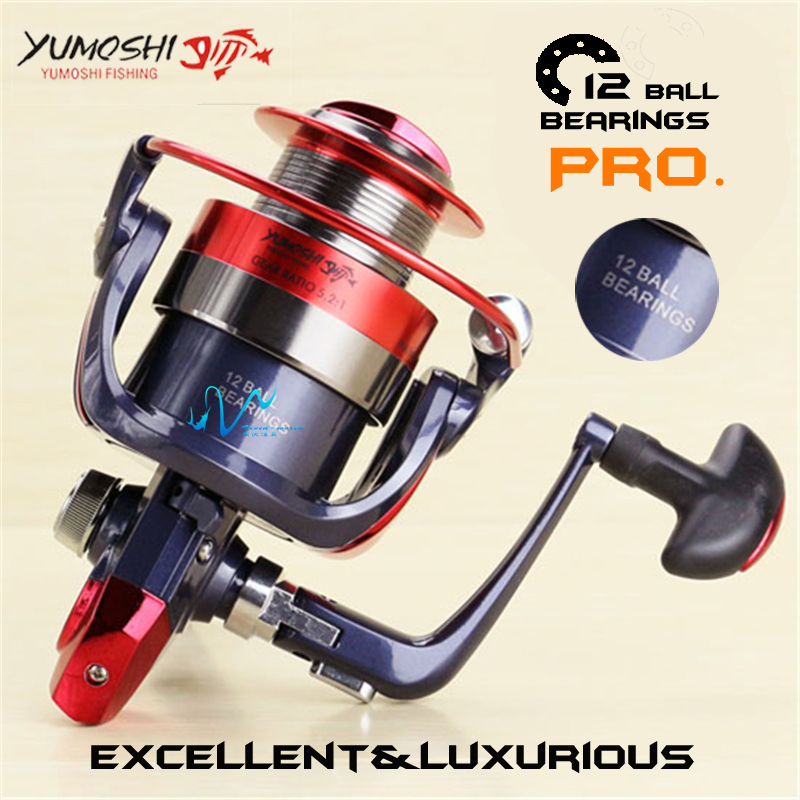 Brand Fishing reel Metal main body 12 Ball Bearings High speed Spinning reel Light weigth super sturdy Rod Combo