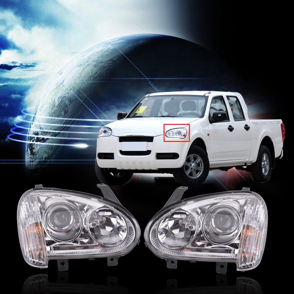 CAPQX 1Pair Front Headlight Headlamp For Great Wall Wingle 3 2006 2007 2008 2011 Head Light Lamp Manual Or Electric For Choose