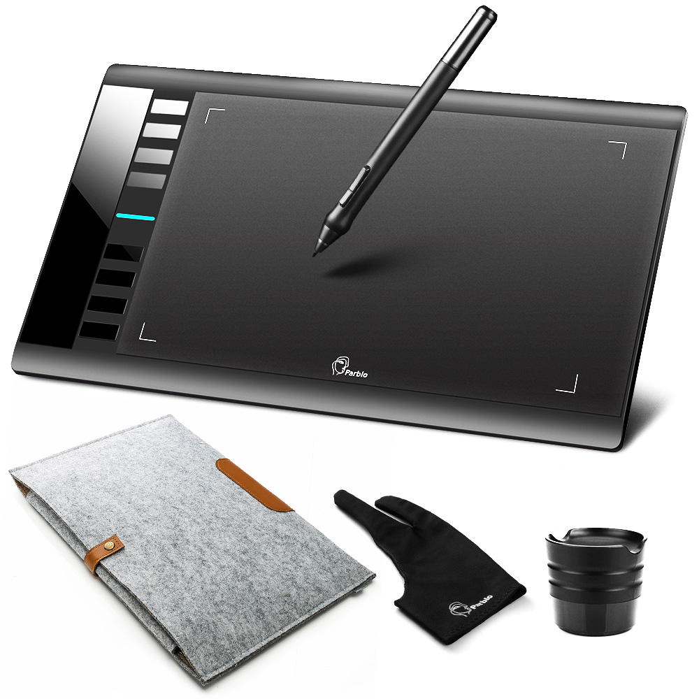 Parblo A610 цифровой Графика планшет для рисования w/Перезаряжаемые ручка Grafico 5080LPI + шерсть чувствовал лайнера сумка обложка + перчатки как подар...