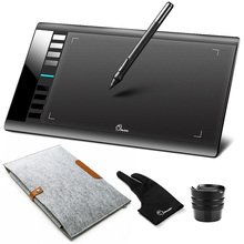 Parblo A610 dijital grafik çizim tableti şarj edilebilir kalem ile Grafico 5080LPI + yün keçe astar çanta kılıfı + eldiven hediye olarak