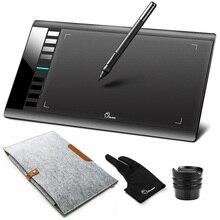 Tableta de dibujo gráfico Digital Parblo A610 con bolígrafo recargable Grafico 5080LPI + funda de bolsa de fieltro de lana + guante de regalo