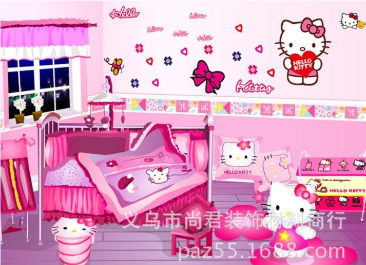 ... Hello Kitty Wall Sticker Baby Kids Room Poster Wallpaper Cartoon Wall  Decal Art Mural Vinyl Stickers ... Part 42
