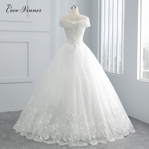 Image 2 - Beatiful Pearls Beading Cap Sleeve Dubai Wedding Dress 2020 Ball Gown Lace up Embroidery Vintage Bride Dress Wedding Gown WX0107