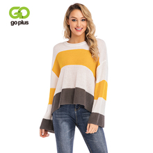 GOPLUS Fashion Striped Contrast Knitted Long Sweater Women Sleeve Loose Pullovers 2019 Casual Befree Street Female