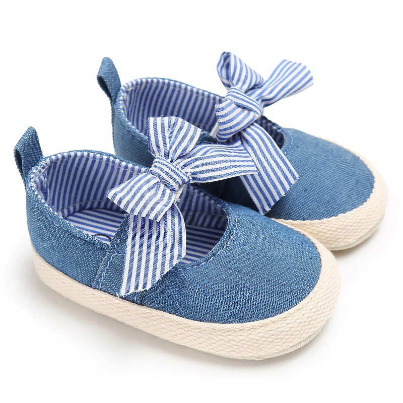 Baby Girls Princess Shoes Infant Toddler Crib Bebe Kids First Walkers Mary Jane Striped Big Bow Soft Soled Anti-Slip For Dress