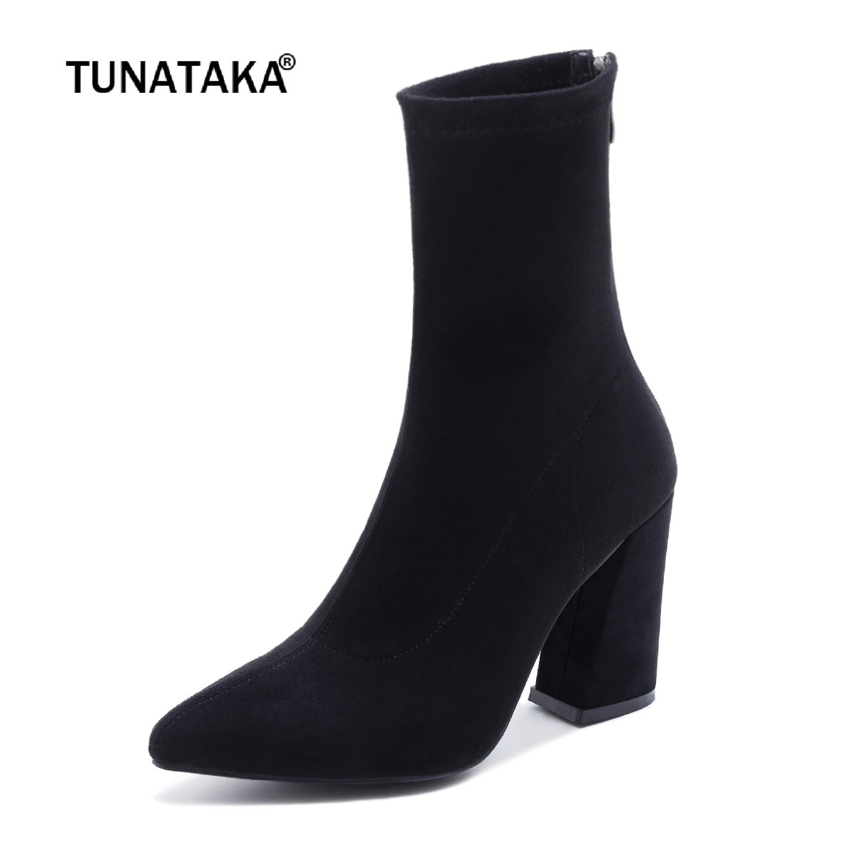 Women Suede Hoof Heels Fashion Zipper Ankle Boots Ladies Pointed Toe Spring Autumn Elastic Shoes Black enmayla fashion front zipper ankle boots women chucky heels square toe high heels shoes woman black yellow suede autumn boots