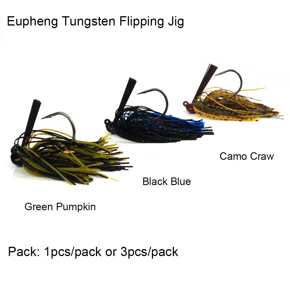 Eupheng Pro Tungsten Flipping Jig Silicon Rubber Case Skirt For Flipping Pitching Casting Around Cover Chip Resistant Paint