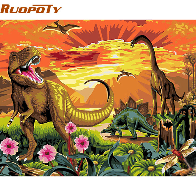 ruopoty diy frame acrylic picture diy painting by numbers dinosaur