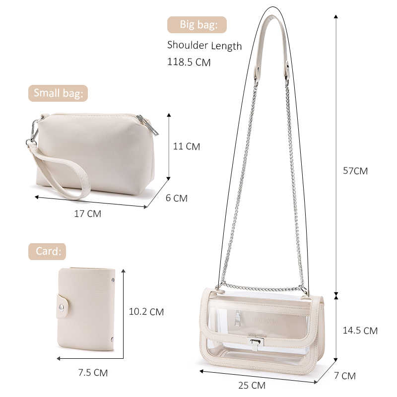 Lovevook şeffaf çanta kadınlar için 2020 PVC şeffaf torba jöle omuzdan askili çanta seti bayanlar için crossbody çanta çanta çanta kart tutucu