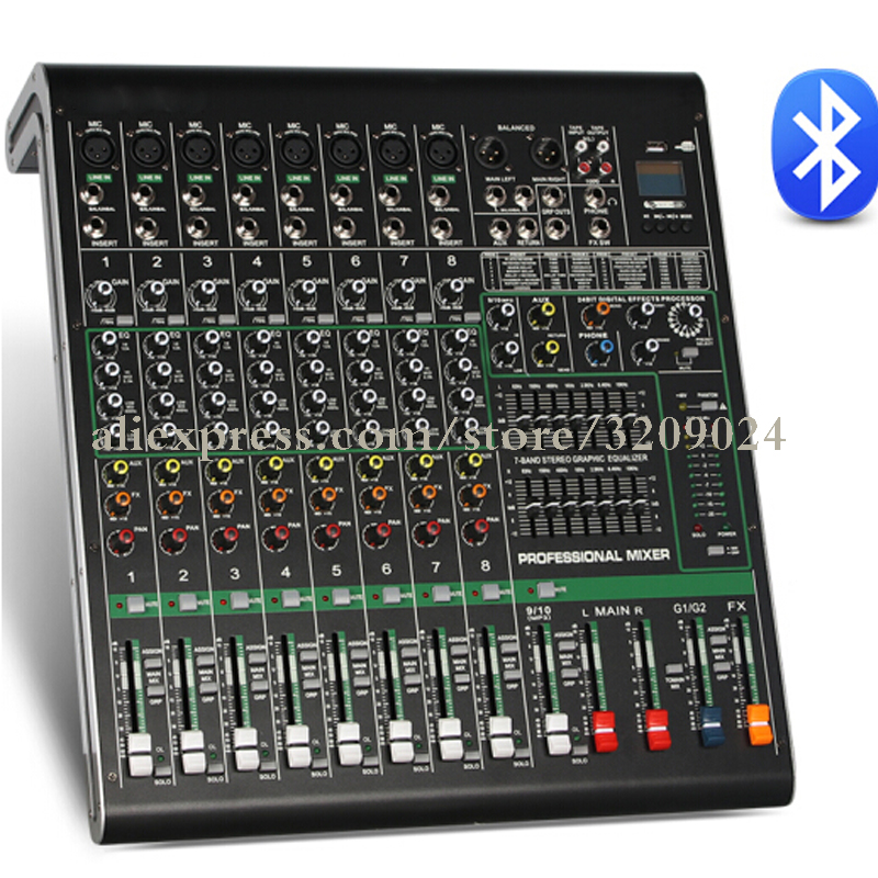 10 Channel Bluetooth USB Mixer With Reverberation Stage Performance Karaoke KTV Wedding Special Mixer With 48V