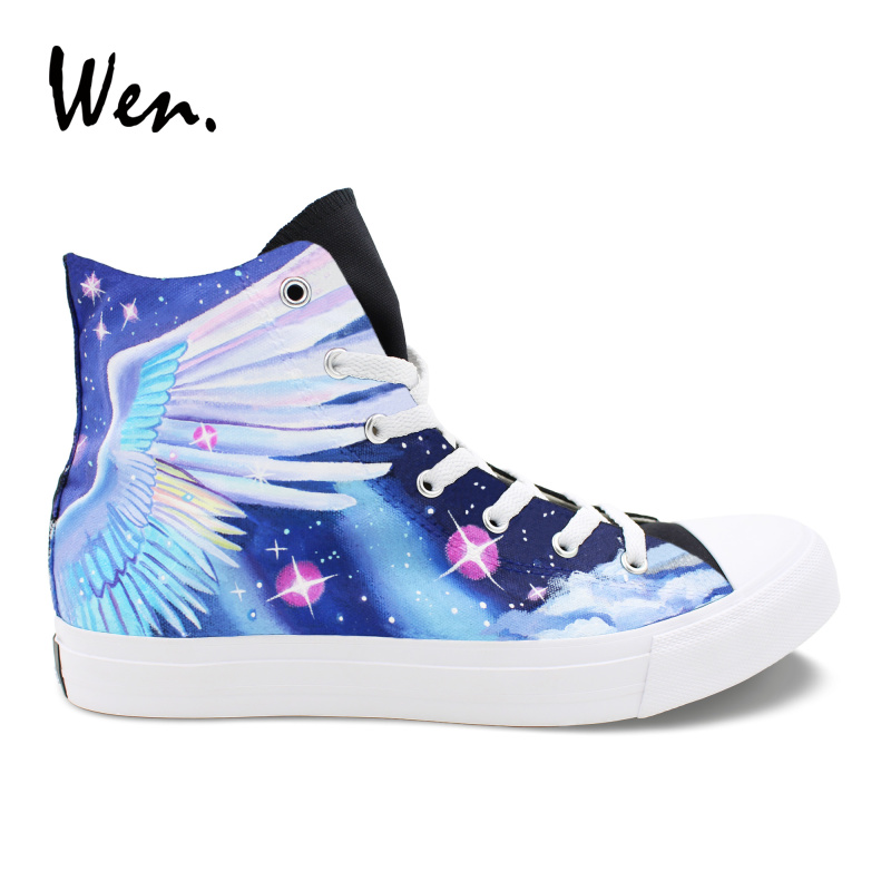 Wen Original Design Hand Painted Shoes Unicorn Pegasus Wings Starry Sky High Top Canvas Sneakers Women Men Skateboarding Shoes