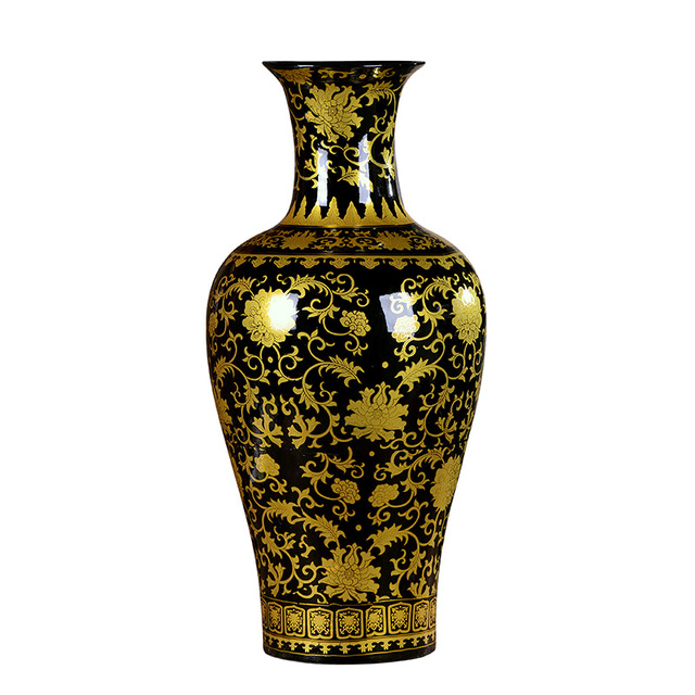 Jingdezhen Enamel Fishtail Vase Ceramic Black Golden Antique Large