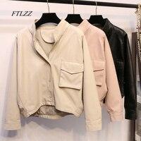FTLZZ Fashion New Faux Leather Jacke Women Loose Irregular Batwing Sleeve Short Design Long Sleeve PU Casual Coat