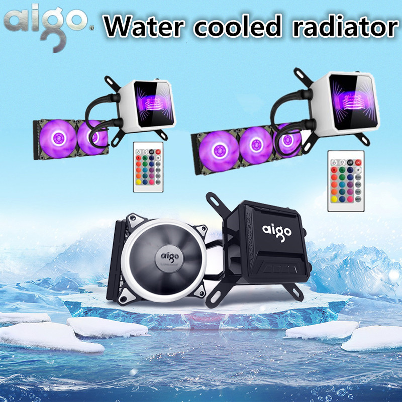 Aigo water cooling radiator/mute RGB desktop computer radiator CPU integrated water cooling Cooler For LGA 775/115x/AM2/AM3/AM4 ice source computer water cooling cpu radiator fan desktop integrated cpu water cooled radiator mute set