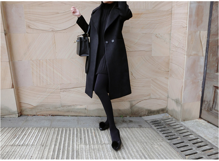 US $76.78 51% OFF|Tcyeek Zwarte Wollen Jas Vrouwen Medium Lange Slanke Pak Kraag vrouwen Winter Jassen Winter Jas Vrouwelijke Jasje YYJ197 in Wol en