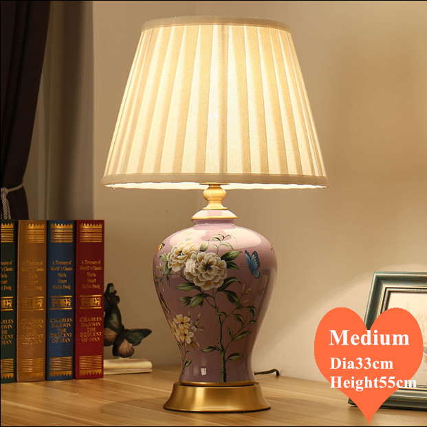 Chinese style elegant purple <font><b>ceramic</b></font> medium <font><b>Table</b></font> <font><b>Lamp</b></font> Fashion fabric lampshade copper <font><b>base</b></font> E27 LED <font><b>lamp</b></font> for bedside&foyer MF064 image