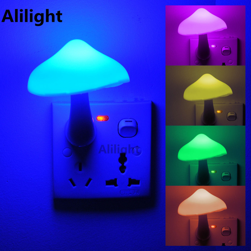 Wall Socket Night Lamp Lovely Cute Yellow Mushroom LED Light Living Room Baby Dedside