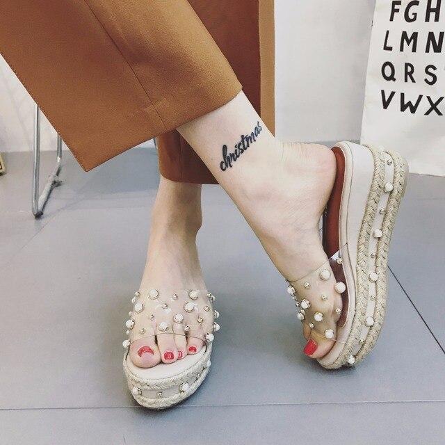 90b3fe34bcc Brand ClearTransparent Jelly Sandals Women Pearl Rivet Design Roman  Gladiator Sandals Woman Beach Slippers Platform Wedges Shoes