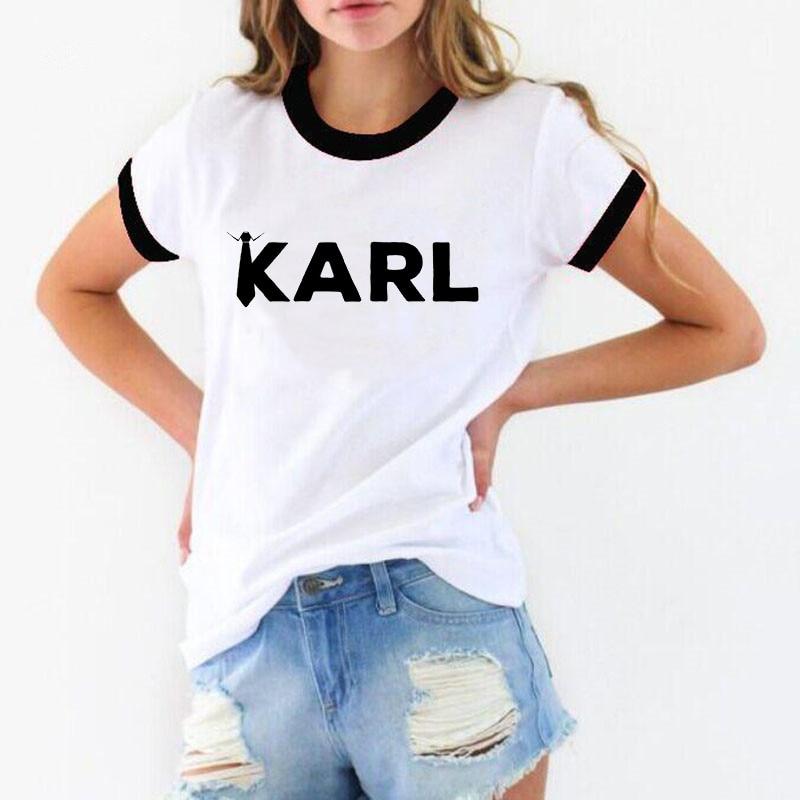 New 2019 camisetas mujer Karl   t     shirt   women Lagerfeld cartoon print summer cotton Vogue tshirt couple clothes cat   t  -  shirt   femme