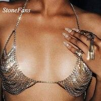 StoneFans бюстгальтер ожерелье 3 цвета цепочка из страз, Ювелирное Украшение выдалбливают новая золотая цепь с кристаллом ожерелье бикини на Де...