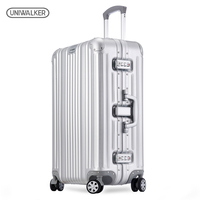 UNIWALKER UNISEX 18 20 25 inch Luggage Pure Aluminum Alloy Rolling Suitcase Hardside Baggage Traveling Bags with Spinner Wheels