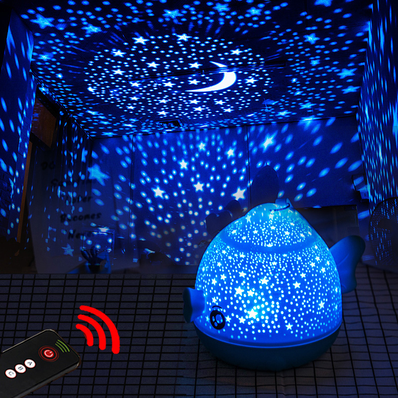 Lucky Fish Starry Sky Projector LED Night Light Remote Control Rotating LED Bedroom Night Lamp Novelty Light for Children Baby