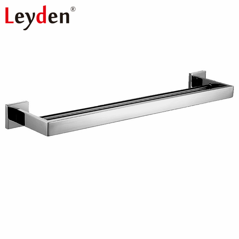 Leyden 304 Stainless Steel Square Towel Bar Double Towel Hanger Polished Chrome Wall Mounted Towel Holder Bathroom Accessories leyden high quality stainless steel towel rack bathroom polished chrome towel bar wall mounted towel holder bathroom accessories