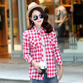 2016 Brand Women Plaid Shirt Flannel Shirt Long Sleeve Blouses Shirt Women Plus Size Cotton Blusas Tops Femininas Chemise Femme