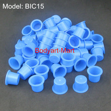 100pcs 15mm Large Blue Tattoo Ink Cups Caps Permanent Makeup Pigment Cups Supply BIC15-100#