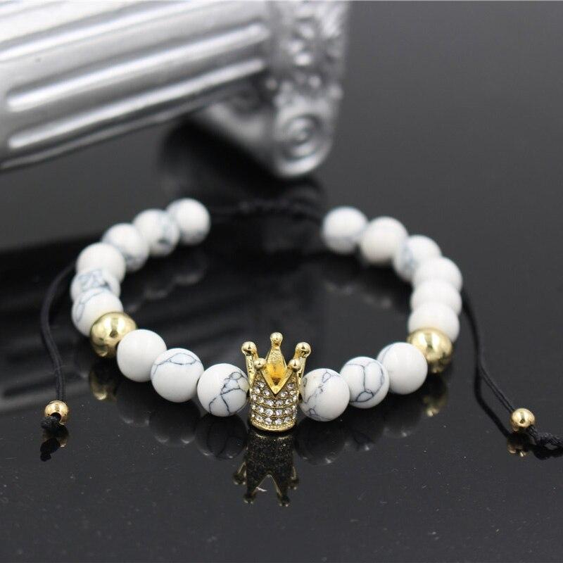 Wholesale Fashion Micro Pave CZ Crown Charm Bracelet White Howlite Stone Bead Braiding Macrame Bracelets Men Women Jewelry Gift