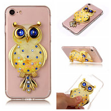 Cute Owl Cover+3D Bling Diamond Quicksand Phone Case For xiaomi Max 2/Mix 2s/mi6/5X/A1/Redmi 5 plus/4A/4x/Note 4x/Note 5A Pro(China)