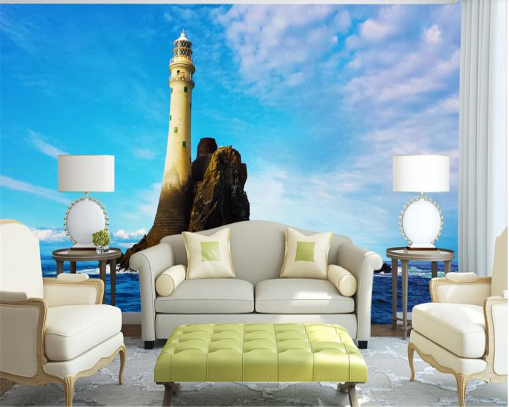 beibehang wall papers home decor American Fashion Caribbean Lighthouse Photo Wallpaper papier peint mural 3d papel de parede