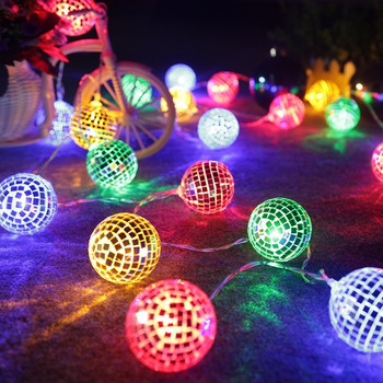 1.5M 10leds AA battery powered Christmas led string light Mirror ball Fairy decoration for Christmas tree,Holiday,Birthday