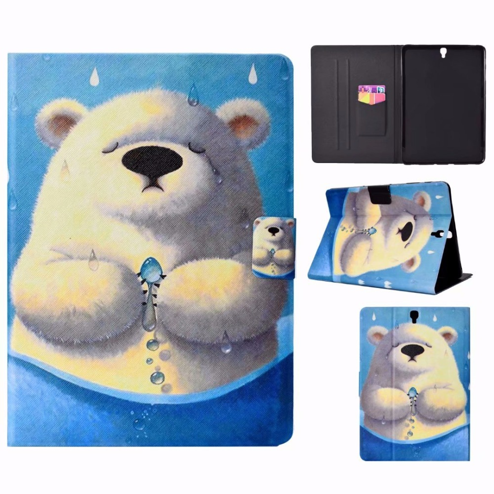 Cartoon Soft Silicone TPU Stand PU Leather Case Cover For Samsung Galaxy Tab S3 9.7\