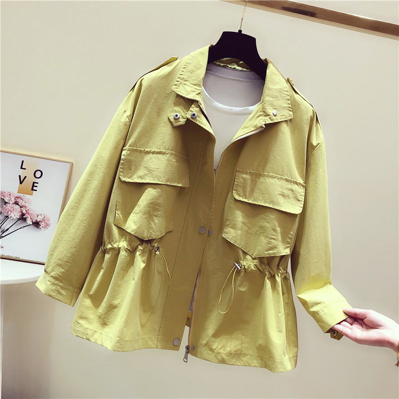 Spring Autumn Short   Trench   Coat Women Korean Slim Adjustable Waist Long Sleeve Windbreaker Female Loose Solid Color Outwear