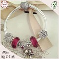 Good Quality Beautiful DIY Love Red Style 100% 925 Real Silver Charm Bracelet With Love Heart Clasp