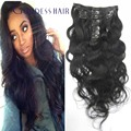 30 inch super long human hair clip in extensions Brazilian body wave clip in hair 1# jet black 100g/pcs free shipping