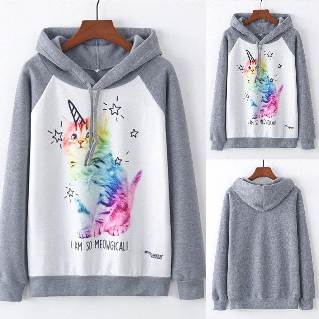 2019 Hoodies Womens New Fashion Autumn harajuku clothes Tops Retro Print Cat Hooded women sudadera moletom feminino inverno