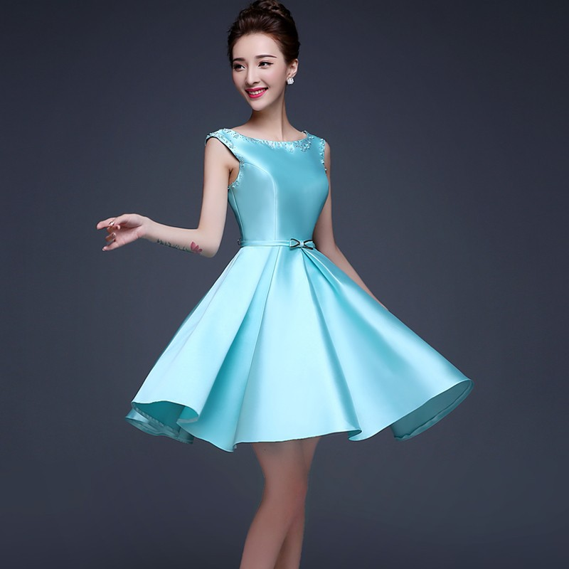 24b24438be72d Cheap Ice Blue Satin Short Prom Dress Laced up Back Simple Semi ...