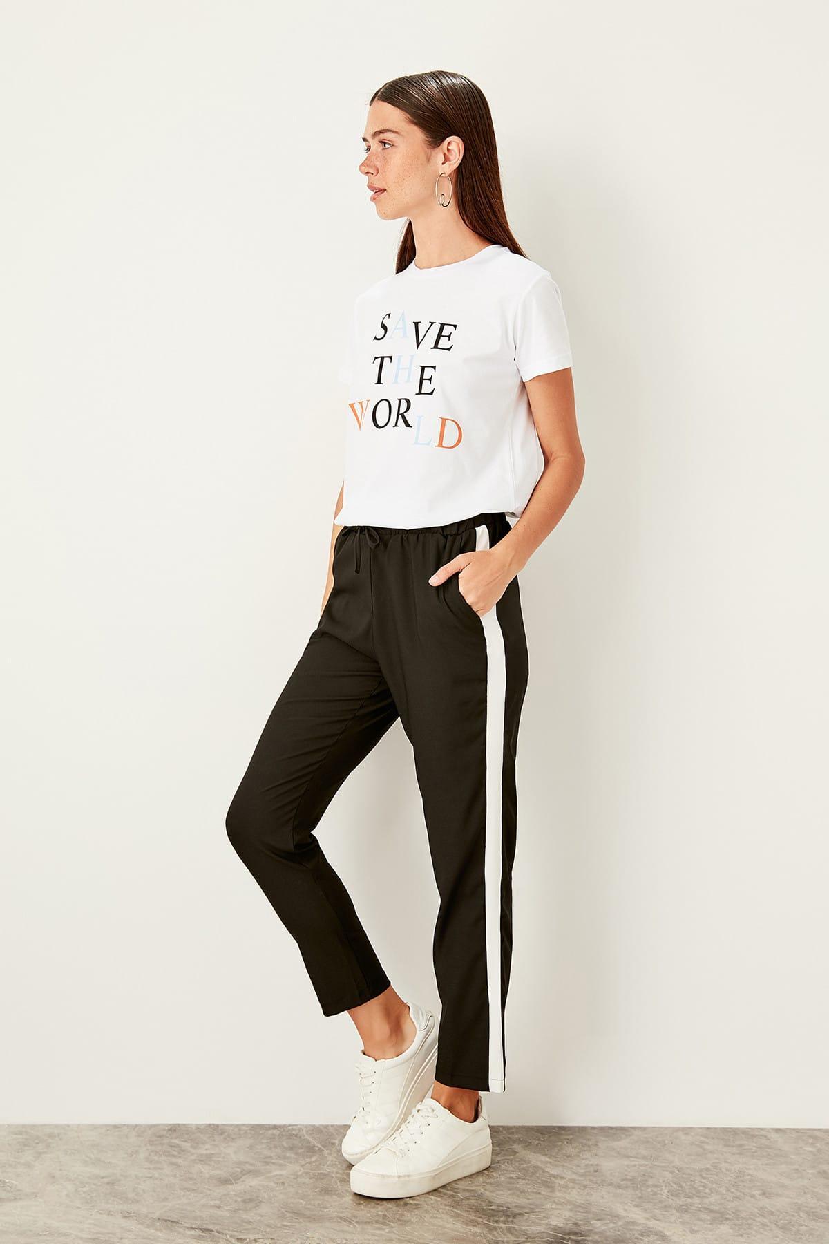 Trendyol Black Lacing Detaylı Pants TWOSS19PL0099